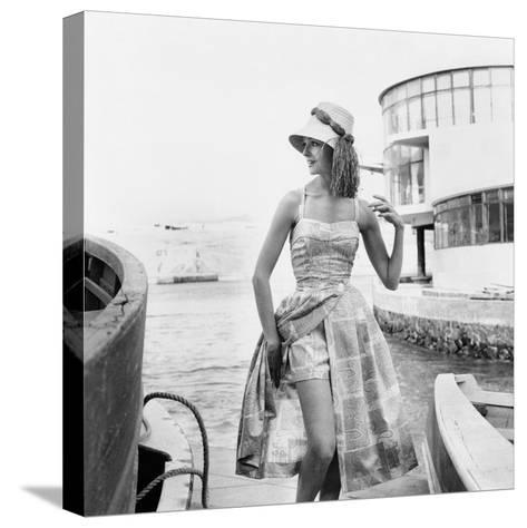 Printed Beach Ensemble with Shorts--Stretched Canvas Print