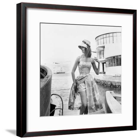 Printed Beach Ensemble with Shorts--Framed Art Print