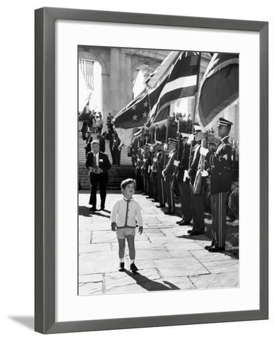 Young John Kennedy Jr, the President's Son, 'Inspects' the Honor Guard--Framed Art Print