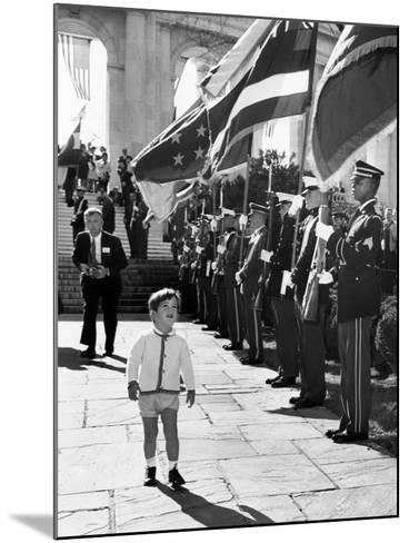 Young John Kennedy Jr, the President's Son, 'Inspects' the Honor Guard--Mounted Photo