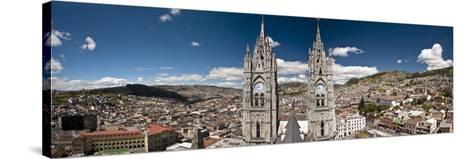 Panoramic View of the Bell Towers at the National Basilica, Quito, Ecuador-Brent Bergherm-Stretched Canvas Print