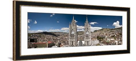 Panoramic View of the Bell Towers at the National Basilica, Quito, Ecuador-Brent Bergherm-Framed Art Print