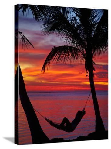 Woman in Hammock, and Palm Trees at Sunset, Coral Coast, Viti Levu, Fiji, South Pacific-David Wall-Stretched Canvas Print