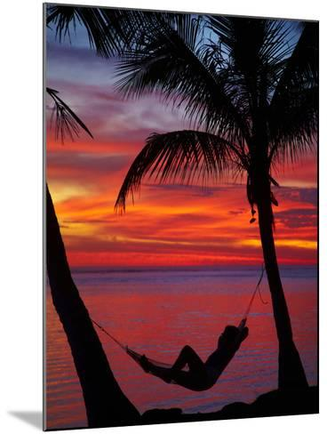 Woman in Hammock, and Palm Trees at Sunset, Coral Coast, Viti Levu, Fiji, South Pacific-David Wall-Mounted Photographic Print