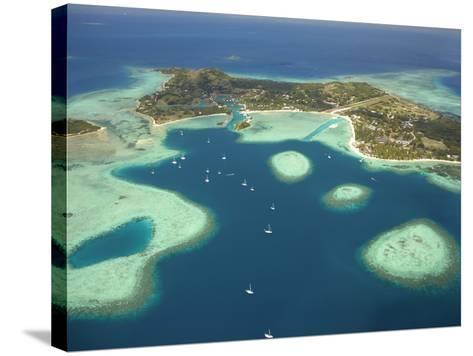 Coral Reef and Malolo Lailai Island, Mamanuca Islands, Fiji-David Wall-Stretched Canvas Print
