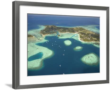 Coral Reef and Malolo Lailai Island, Mamanuca Islands, Fiji-David Wall-Framed Art Print