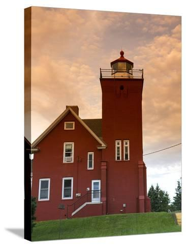 Two Harbors Lighthouse Overlooking Agate Bay, Lake Superior, Two Harbors, Minnesota, USA-David R^ Frazier-Stretched Canvas Print