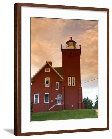 Two Harbors Lighthouse Overlooking Agate Bay, Lake Superior, Two Harbors, Minnesota, USA-David R^ Frazier-Framed Art Print