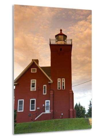 Two Harbors Lighthouse Overlooking Agate Bay, Lake Superior, Two Harbors, Minnesota, USA-David R^ Frazier-Metal Print