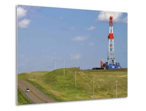 Patterson Uti Oil Drilling Rig Along Highway 200 West of Killdeer, North Dakota, USA-David R^ Frazier-Metal Print