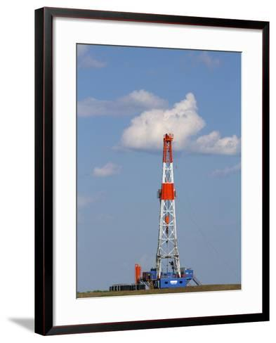 Patterson Uti Oil Drilling Rig Along Highway 200 West of Killdeer, North Dakota, USA-David R^ Frazier-Framed Art Print