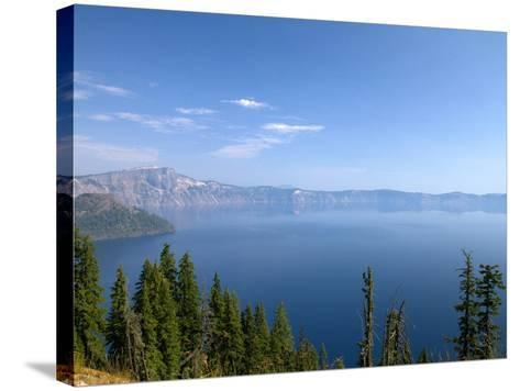 Crater Lake Shrouded in Smoke from Forest Fires, Crater Lake Nat'l Park, Southern Oregon, USA-David R^ Frazier-Stretched Canvas Print