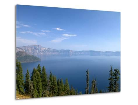 Crater Lake Shrouded in Smoke from Forest Fires, Crater Lake Nat'l Park, Southern Oregon, USA-David R^ Frazier-Metal Print