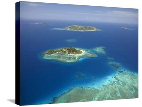 Matamanoa Island and Coral Reef, Mamanuca Islands, Fiji-David Wall-Stretched Canvas Print