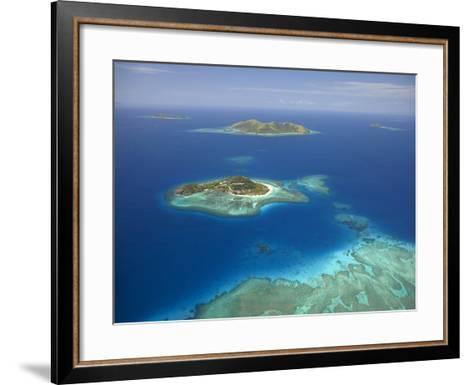 Matamanoa Island and Coral Reef, Mamanuca Islands, Fiji-David Wall-Framed Art Print