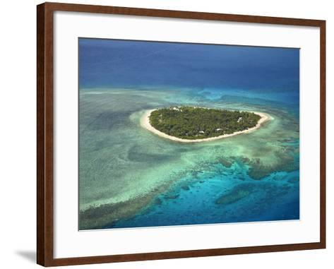 Tavarua Island and Coral Reef, Mamanuca Islands, Fiji-David Wall-Framed Art Print