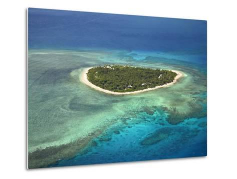 Tavarua Island and Coral Reef, Mamanuca Islands, Fiji-David Wall-Metal Print