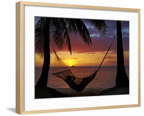 Hammock and Sunset, Plantation Island Resort, Malolo Lailai Island, Mamanuca Islands, Fiji-David Wall-Framed Art Print