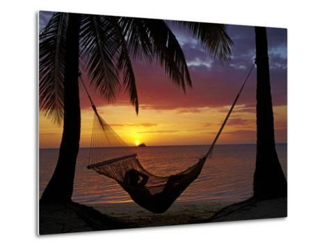 Hammock and Sunset, Plantation Island Resort, Malolo Lailai Island, Mamanuca Islands, Fiji-David Wall-Metal Print