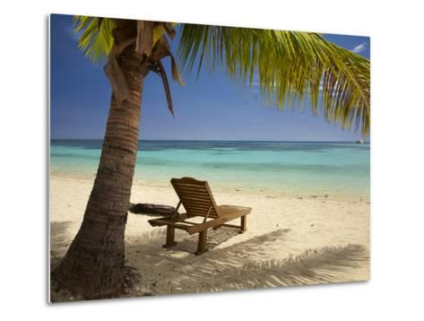Beach and Lounger, Plantation Island Resort, Malolo Lailai Island, Mamanuca Islands, Fiji-David Wall-Metal Print