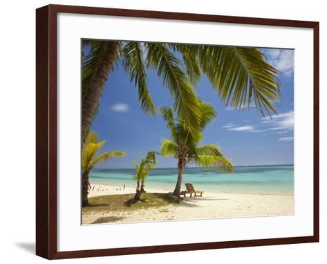Beach and Lounger, Plantation Island Resort, Malolo Lailai Island, Mamanuca Islands, Fiji-David Wall-Framed Art Print