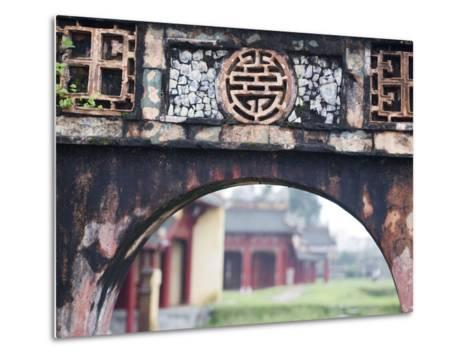 Carved Arch Inside the Imperial Palace, in Hue, Vietnam-David H^ Wells-Metal Print