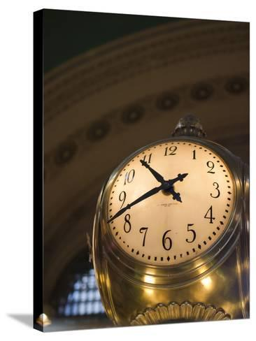 An Illuminated Clock in Grand Central Station, New York, New York, USA-David H^ Wells-Stretched Canvas Print