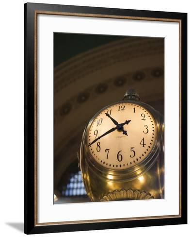 An Illuminated Clock in Grand Central Station, New York, New York, USA-David H^ Wells-Framed Art Print