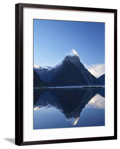 Early Light on Mitre Peak, Milford Sound, Fiordland National Park, South Island, New Zealand-David Wall-Framed Art Print