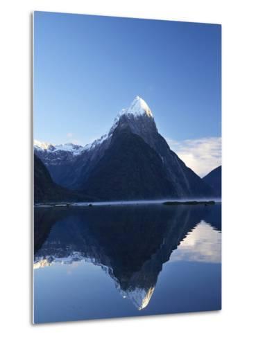 Early Light on Mitre Peak, Milford Sound, Fiordland National Park, South Island, New Zealand-David Wall-Metal Print