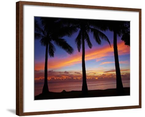 Sunset and Palm Trees, Coral Coast, Viti Levu, Fiji, South Pacific-David Wall-Framed Art Print