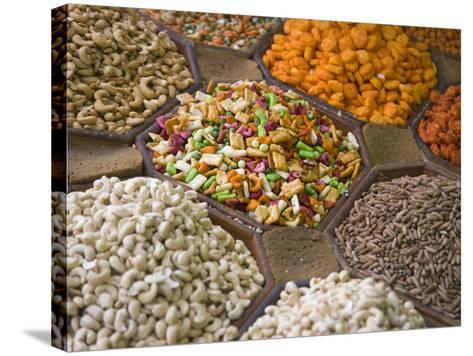 Selling Nuts and Dried Fruit at the Market, Dubai, United Arab Emirates-Keren Su-Stretched Canvas Print