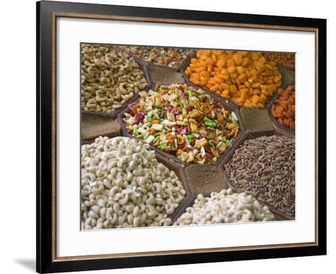 Selling Nuts and Dried Fruit at the Market, Dubai, United Arab Emirates-Keren Su-Framed Art Print