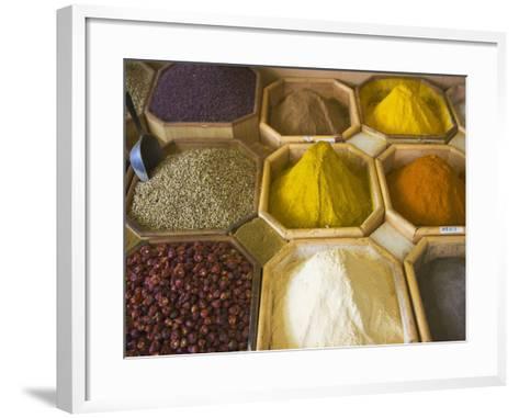Selling Spices at the Market, Dubai, United Arab Emirates-Keren Su-Framed Art Print
