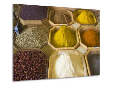 Selling Spices at the Market, Dubai, United Arab Emirates-Keren Su-Metal Print
