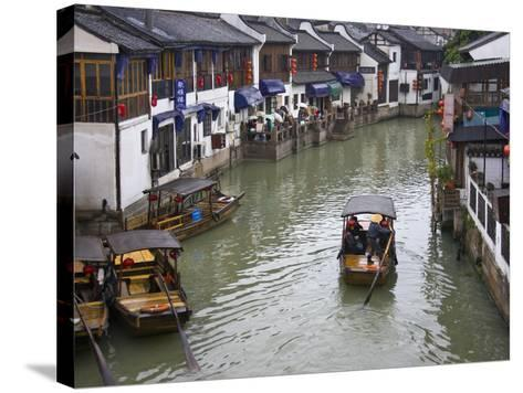 Traditional Houses and Boat on the Grand Canal, Zhujiajiao, Near Shanghai, China-Keren Su-Stretched Canvas Print