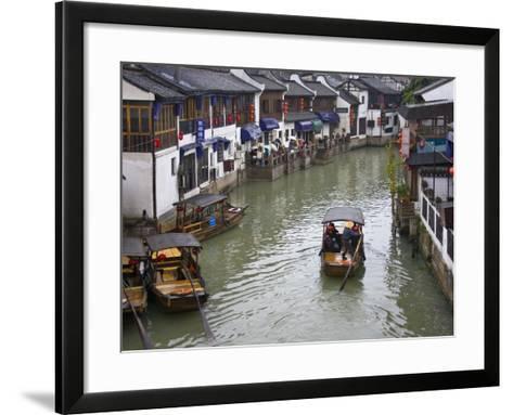 Traditional Houses and Boat on the Grand Canal, Zhujiajiao, Near Shanghai, China-Keren Su-Framed Art Print