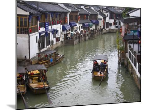 Traditional Houses and Boat on the Grand Canal, Zhujiajiao, Near Shanghai, China-Keren Su-Mounted Photographic Print