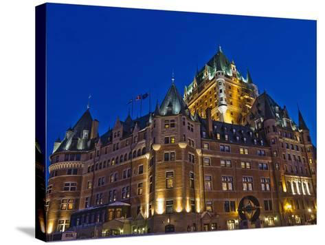 Night View of Chateau Frontenac Hotel, Quebec City, Canada-Keren Su-Stretched Canvas Print