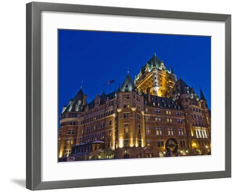 Night View of Chateau Frontenac Hotel, Quebec City, Canada-Keren Su-Framed Art Print