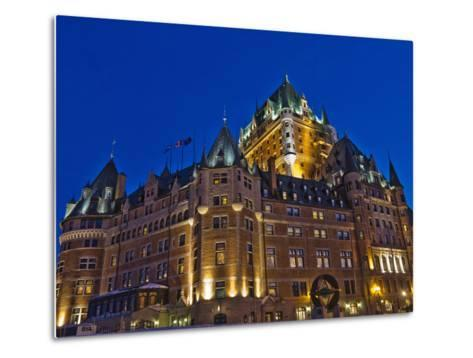 Night View of Chateau Frontenac Hotel, Quebec City, Canada-Keren Su-Metal Print
