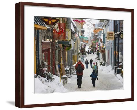 Old Houses Along the Street, Quebec City, Canada-Keren Su-Framed Art Print