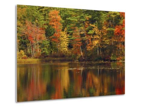 Autumn Reflections, Trickey Pond, Naples, Maine, USA-Michel Hersen-Metal Print