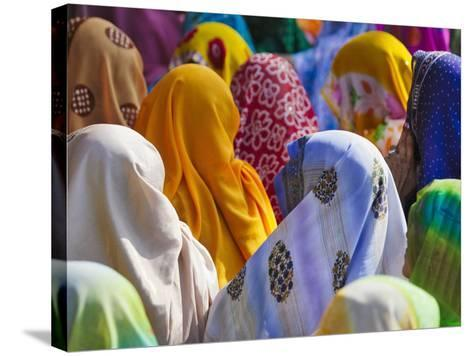 Women in Colorful Saris Gather Together, Jhalawar, Rajasthan, India-Keren Su-Stretched Canvas Print