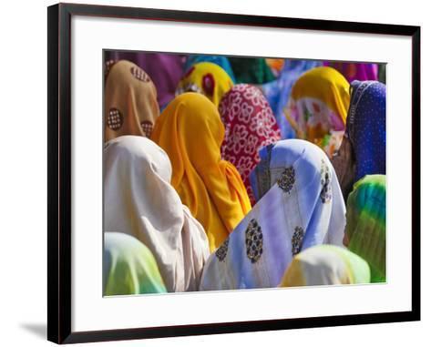 Women in Colorful Saris Gather Together, Jhalawar, Rajasthan, India-Keren Su-Framed Art Print