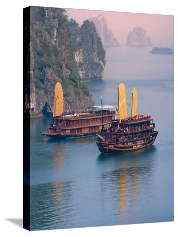 Junk Boat and Karst Islands in Halong Bay, Vietnam-Keren Su-Stretched Canvas Print