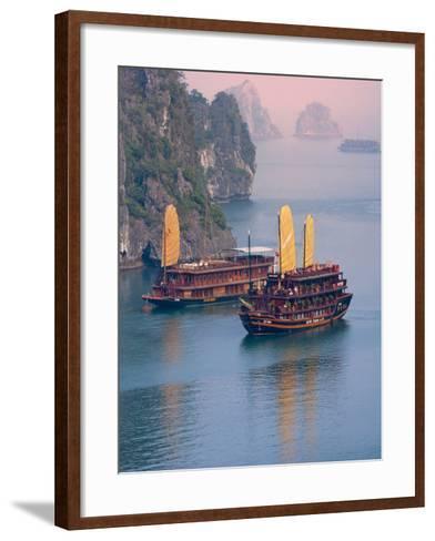 Junk Boat and Karst Islands in Halong Bay, Vietnam-Keren Su-Framed Art Print