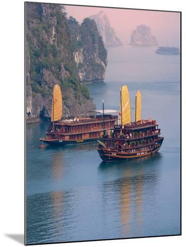 Junk Boat and Karst Islands in Halong Bay, Vietnam-Keren Su-Mounted Photographic Print