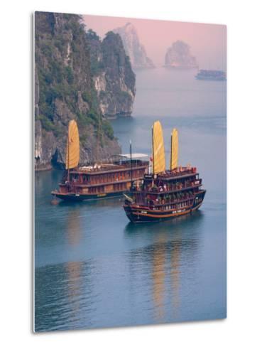 Junk Boat and Karst Islands in Halong Bay, Vietnam-Keren Su-Metal Print