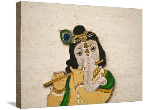 Mural Depicting Ganesha, a Hindu Deity, Inside City Palace, Udaipur, Rajasthan, India-Keren Su-Stretched Canvas Print